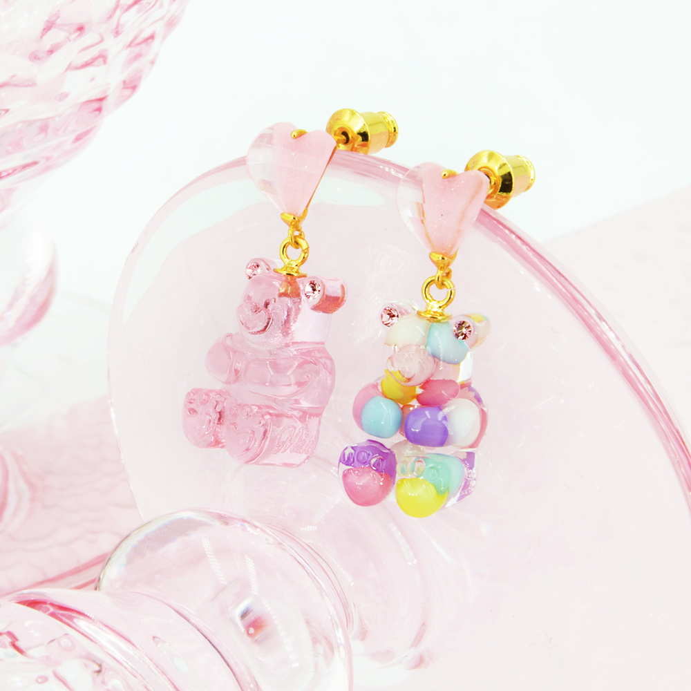 GUMMY BEAR HEART DROP EARRINGS
