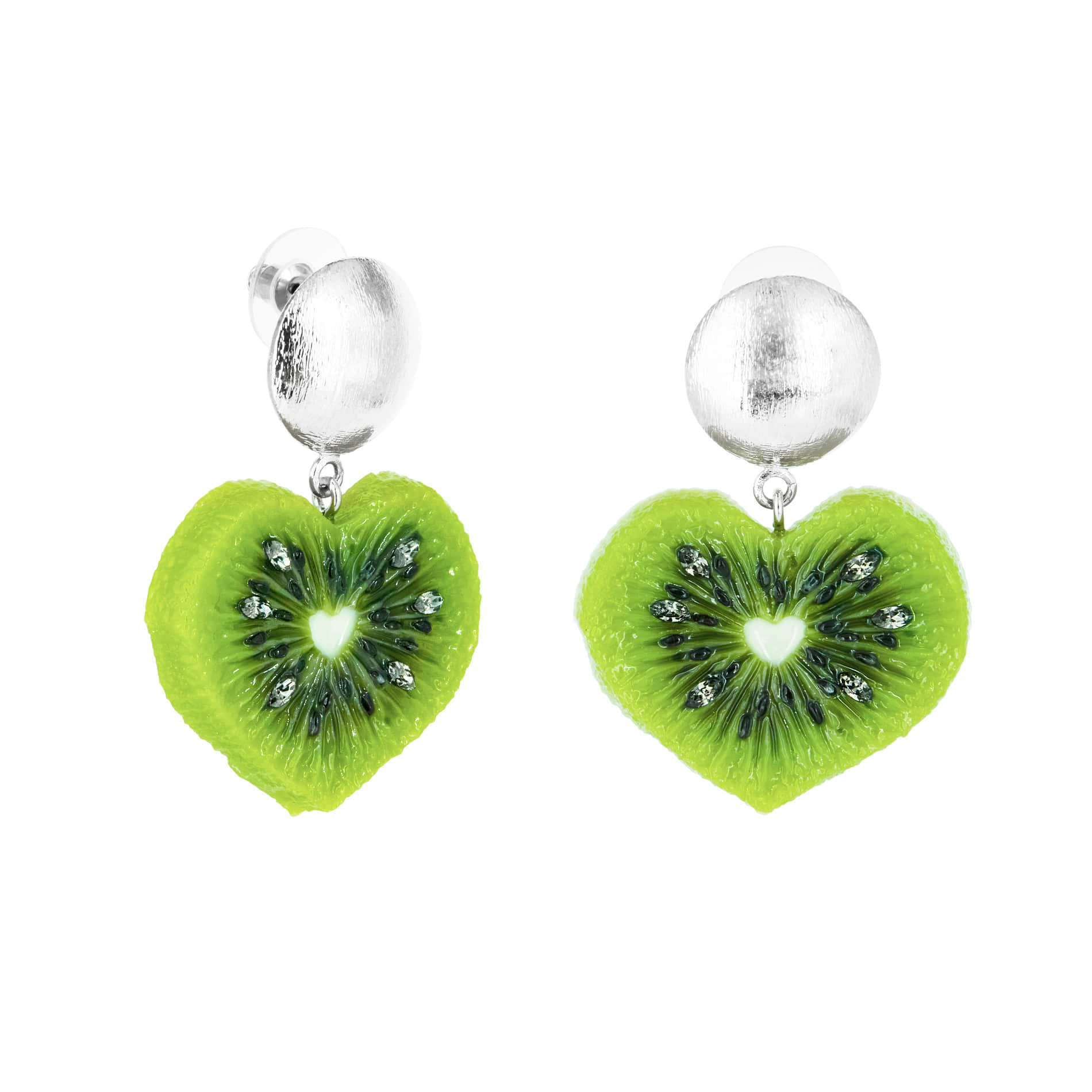 HEART KIWI DROP EARRINGS