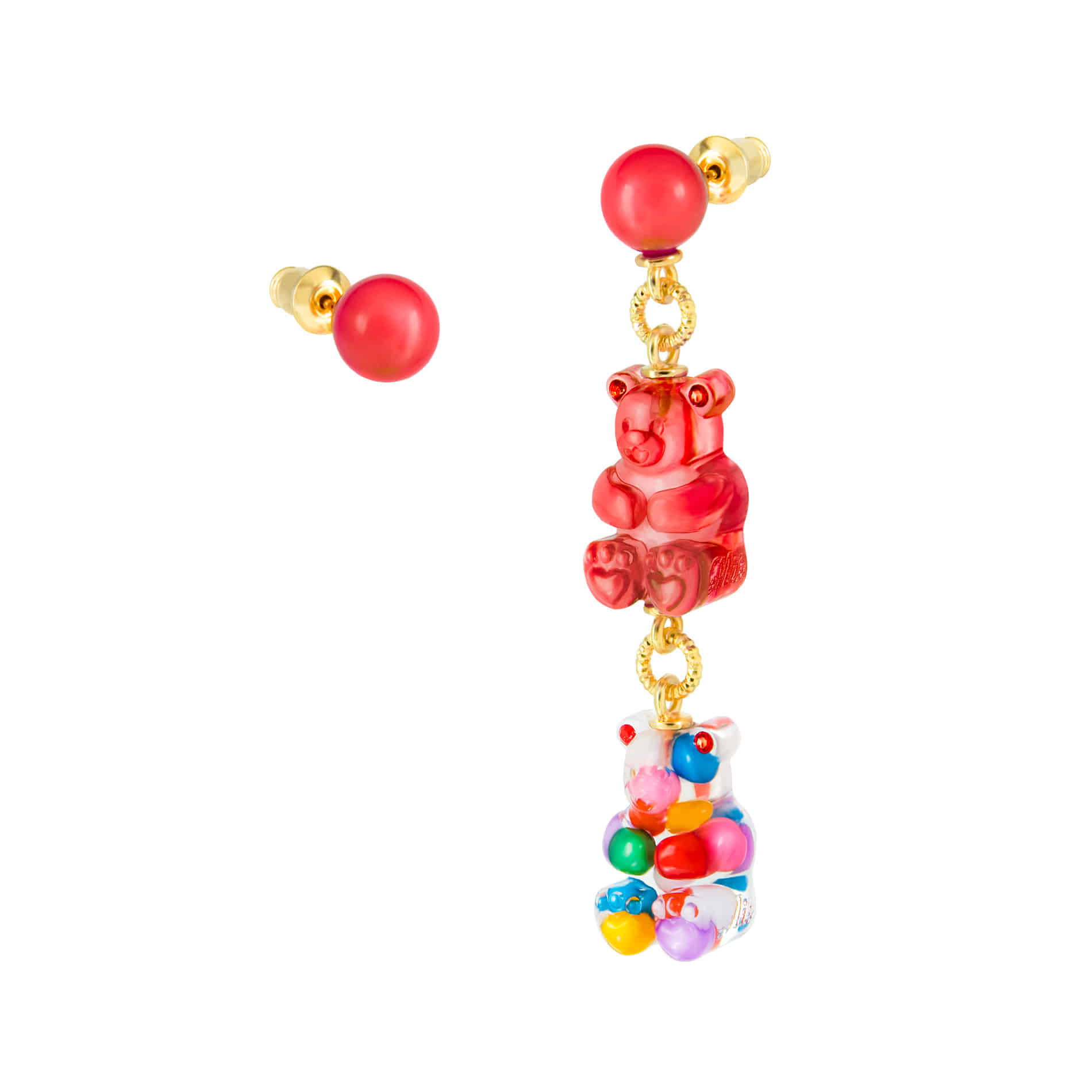 GUMMY BEAR CANDY BALL DROP EARRINGS (MULTI VIVID)