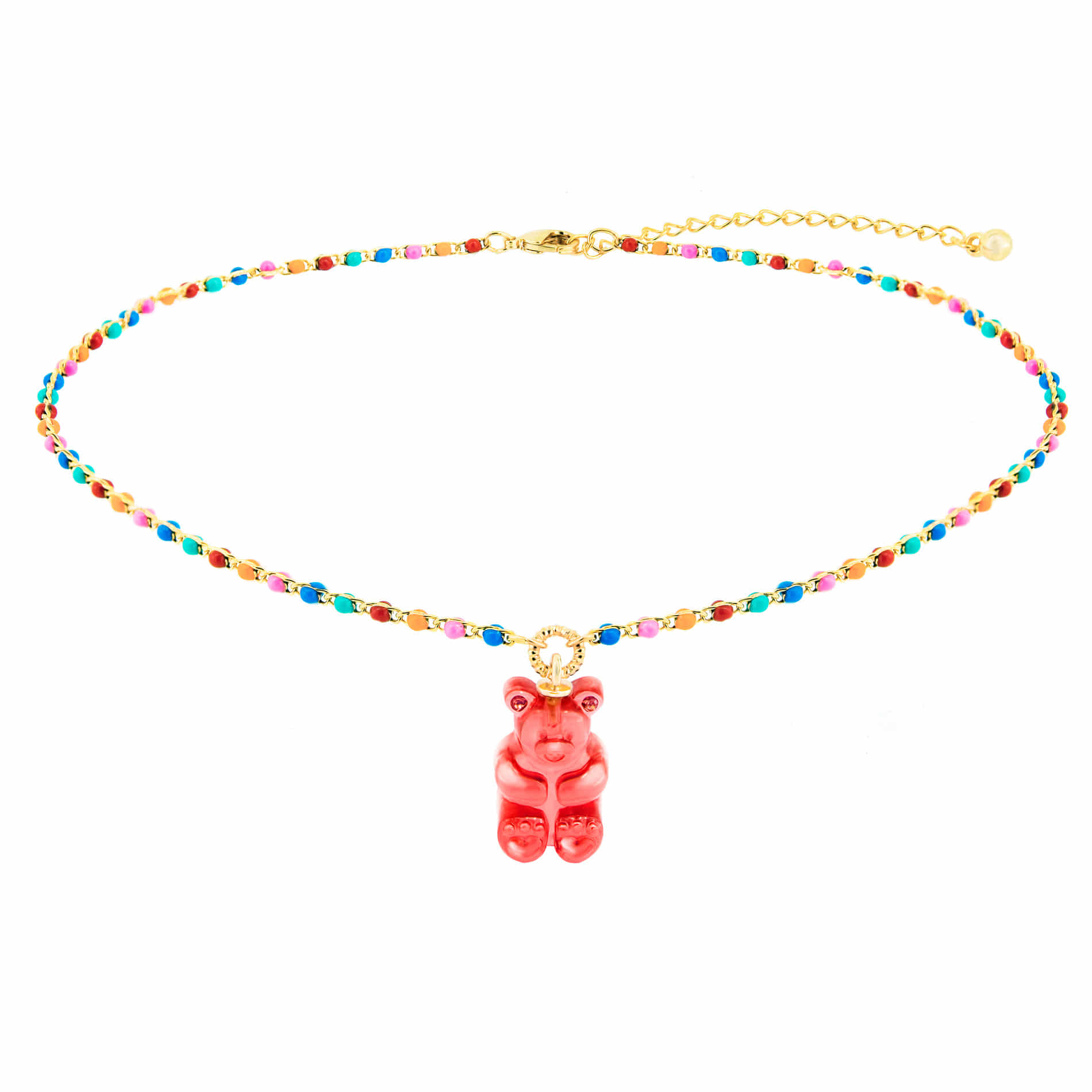 GUMMY BEAR DOT CHOKER NECKLACE (RED)