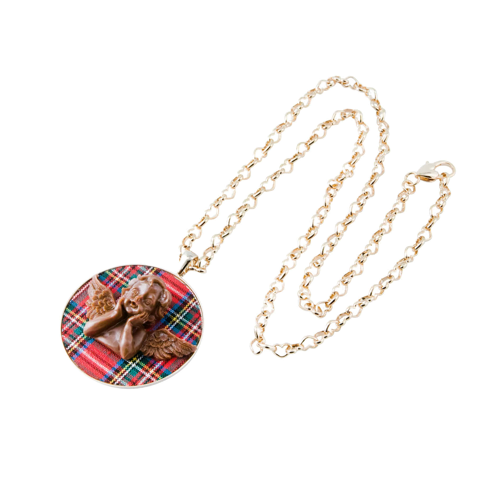MILK CHOCOLATE ANGEL LONG NECKLACE (RED)