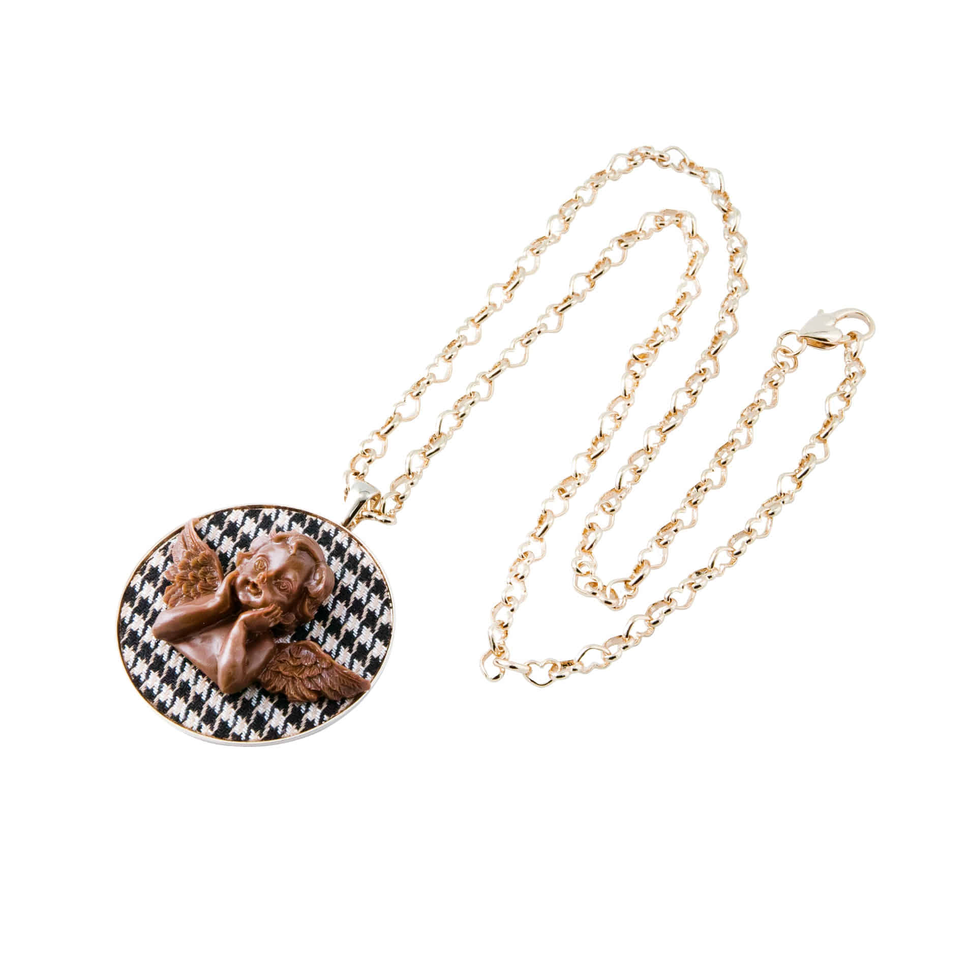 MILK CHOCOLATE ANGEL LONG NECKLACE (BLACK)