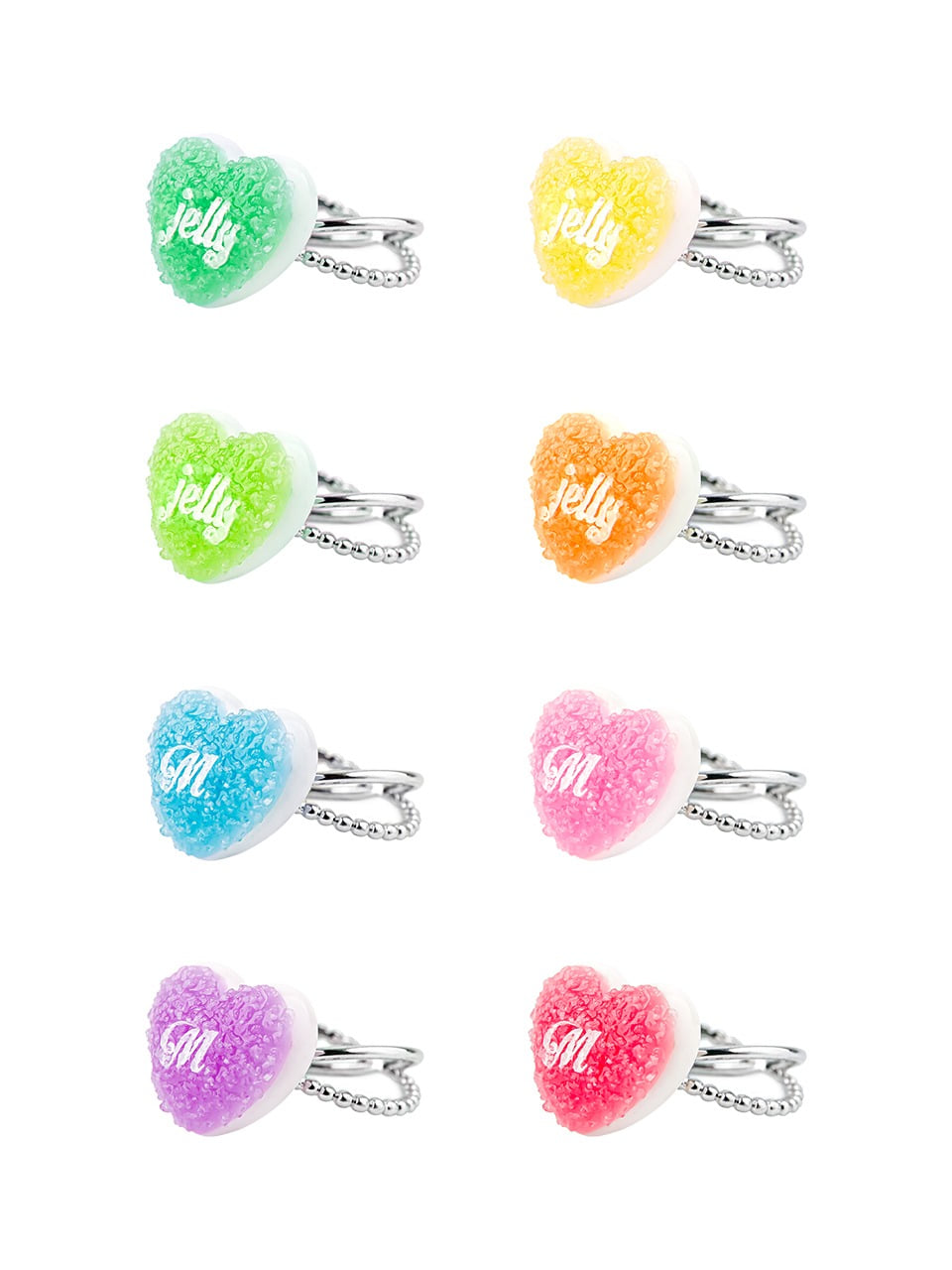 HEART SUGAR JELLY RING(8 COLORS)