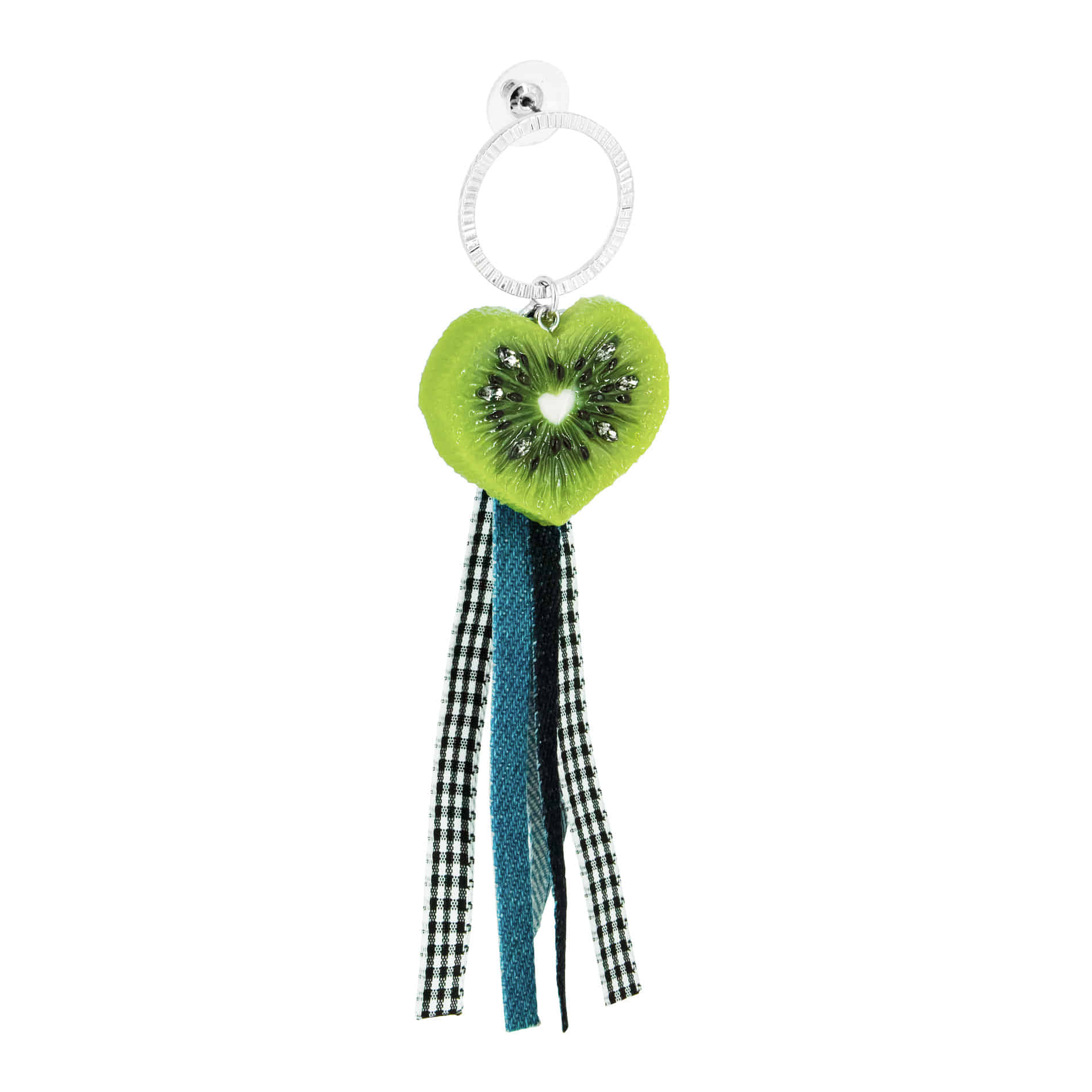 HEART KIWI DENIM DROP EARRING (1PCS)