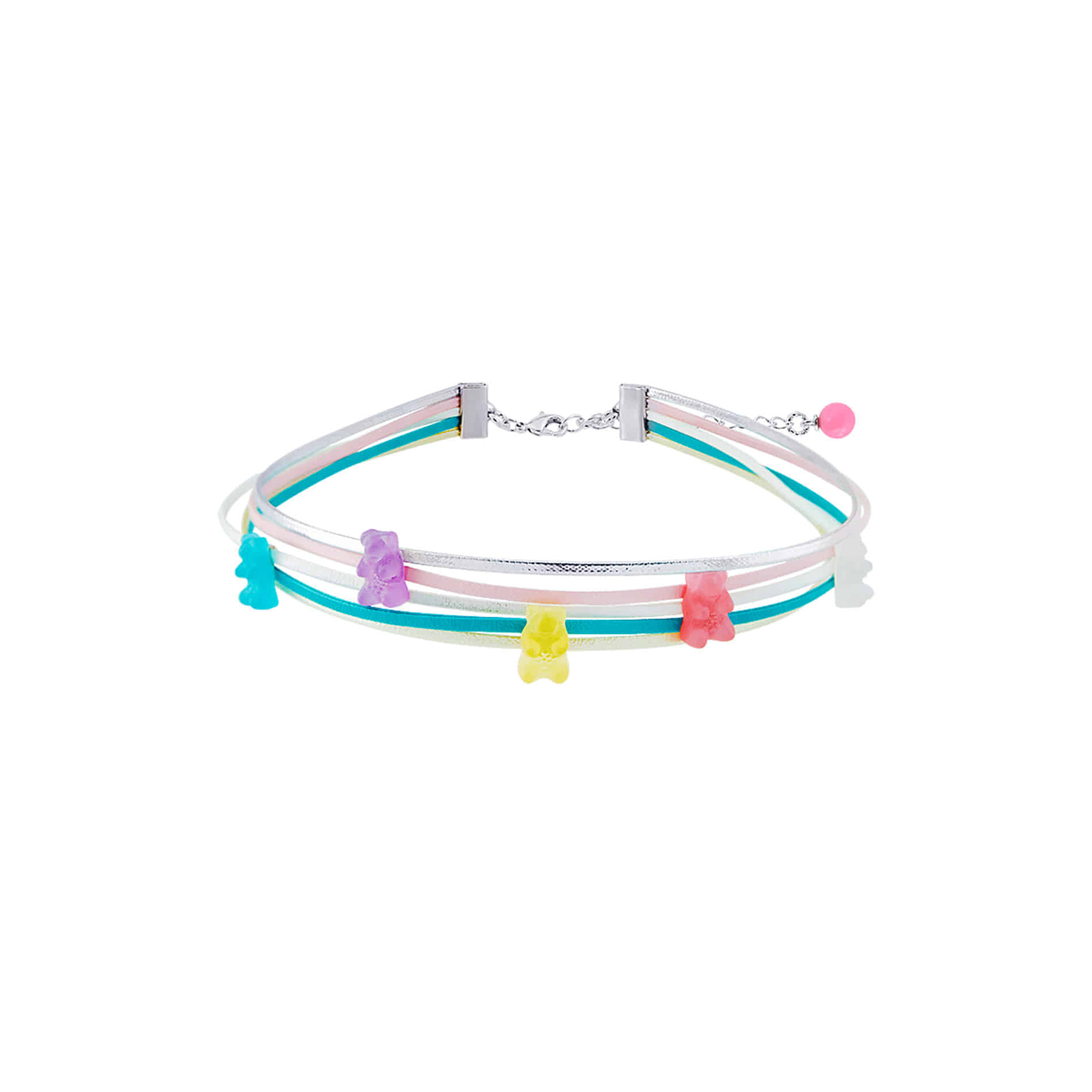 5 JELLY BEAR CHOKER NECKLACE (MULTI PASTEL)