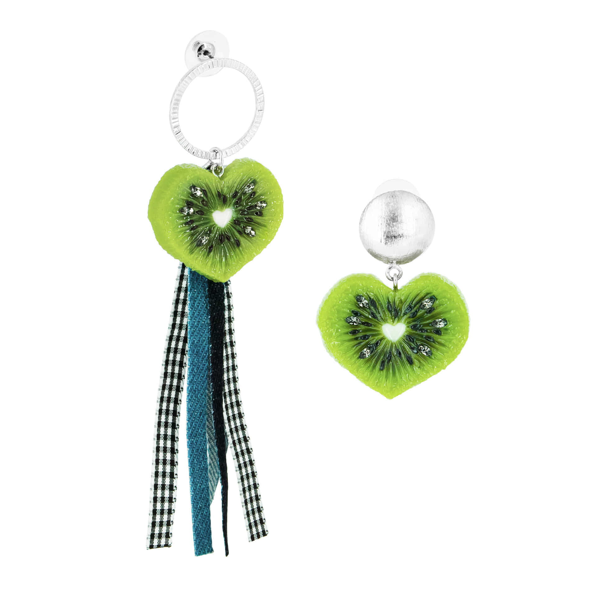 HEART KIWI DENIM DROP EARRINGS (UNBALANCE SET)
