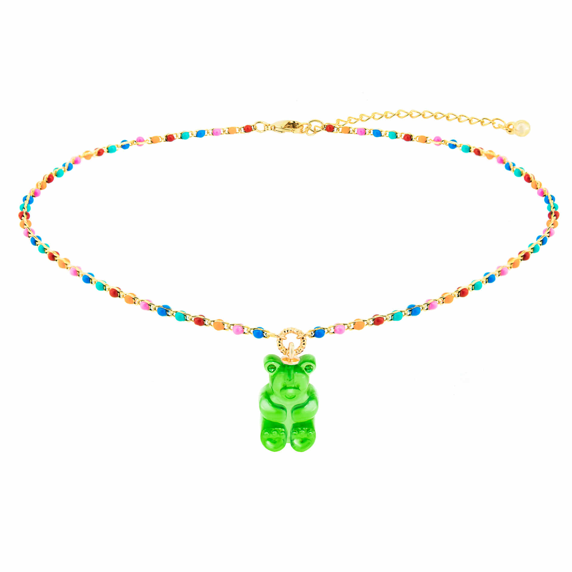 GUMMY BEAR DOT CHOKER NECKLACE (GREEN)