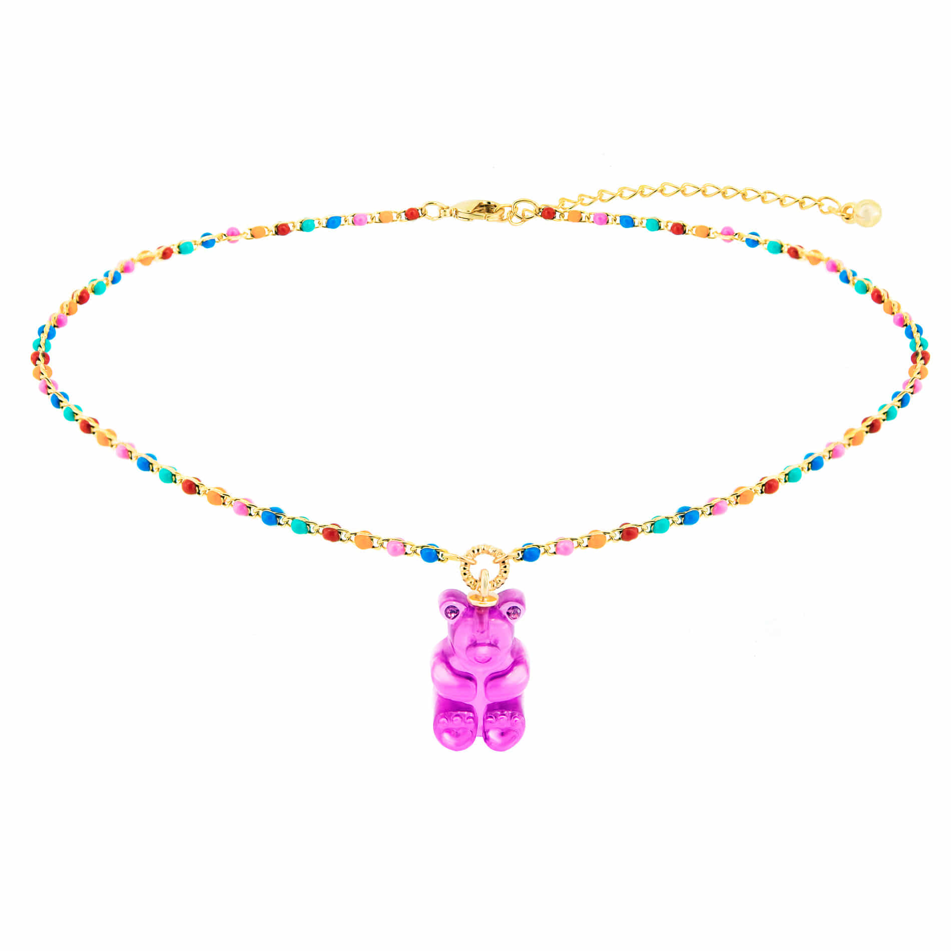GUMMY BEAR DOT CHOKER NECKLACE (PURPLE)
